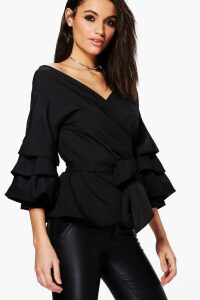Womens Ruffle Tiered Sleeve Wrap Top - Black - 16, Black