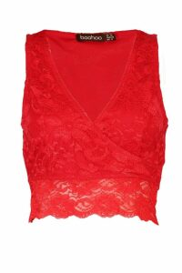 Womens Lace Wrap Front Crop Top - red - 14, Red
