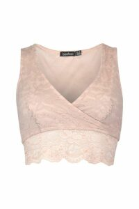 Womens Lace Wrap Front Crop Top - Beige - 16, Beige