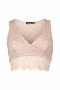 Womens Lace Wrap Front Crop Top - Beige - 16, Beige
