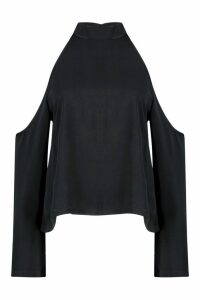 Womens Cold Shoulder Flute Sleeve roll/polo neck Top - black - 6, Black