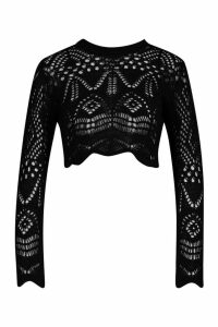 Womens Crochet Crop Jumper - black - M, Black