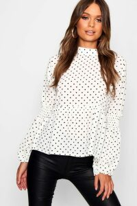 Womens Polka Dot Sheared Balloon Sleeve Blouse - White - 12, White