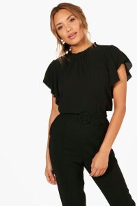 Womens Woven Frill Sleeve And Neck Blouse - black - 14, Black