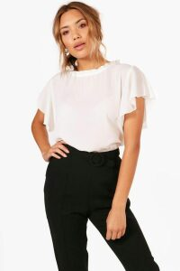 Womens Woven Frill Sleeve & Neck Blouse - White - 14, White