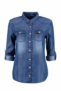 Womens Supersoft Denim Shirt - blue - 14, Blue