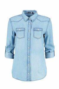 Womens Supersoft Denim Shirt - blue - 12, Blue