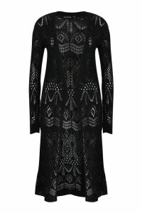 Womens Crochet Cardigan - black - L, Black