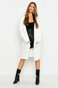 Womens Oversized Boyfriend Cardigan - white - S/M, White