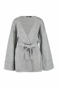 Womens Turn Up Cuff Slouchy Cardigan - grey - S, Grey