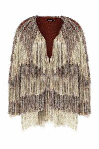 Womens Premium Metallic Fringe Knit Cardigan - metallics - S/M, Metallics