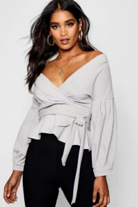 Womens Bell Sleeve Wrap Over Top - Grey - 16, Grey
