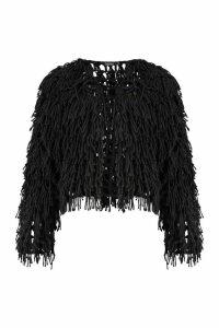 Womens Cropped Shaggy Knit Cardigan - black - L, Black