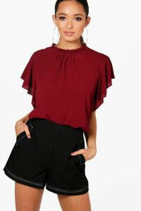 Womens Woven Frill Sleeve & Neck Blouse - red - 14, Red