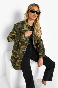 Womens Khaki Camo Print Slim Fit Denim Shirt - green - 14, Green
