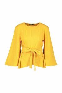 Womens Jumbo Rib Kimono Sleeve Tie Waist Top - yellow - 10, Yellow
