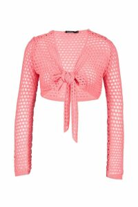 Womens Crochet Tie Front Top - orange - S, Orange