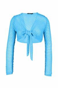 Womens Crochet Tie Front Top - peacock blue - M, Peacock Blue