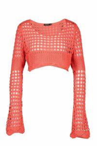 Womens Crochet Bell Sleeve Crop Knit - orange - M/L, Orange