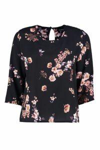 Womens Floral Print Blouse - black - 14, Black
