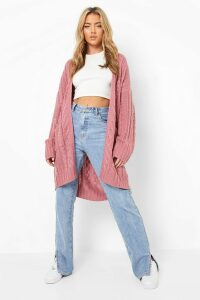 Womens Slouchy Cable Knit Cardigan - pink - M/L, Pink