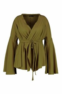 Womens Plus Extreme Sleeve Wrap Front Tie Top - Green - 20, Green