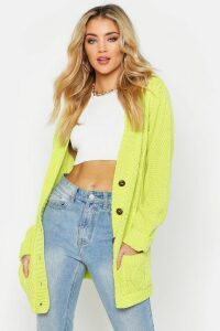 Womens Cable Boyfriend Button Up Cardigan - green - M/L, Green