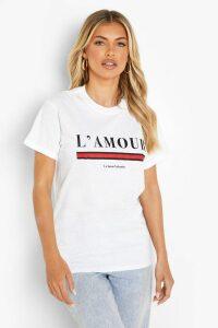 Womens L'Amour Slogan T-Shirt - White - Xxl, White