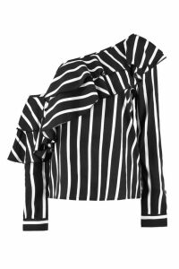 Womens Stripe Ruffle One Shoulder Woven Blouse - Black - 12, Black