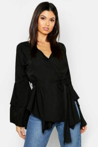 Womens Tie Waist Frill Sleeve Wrap Blouse - black - 14, Black