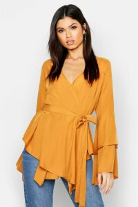 Womens Tie Waist Frill Sleeve Wrap Blouse - yellow - 12, Yellow