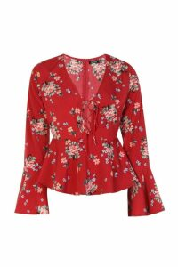 Womens Printed Lace Up Flare Sleeve Blouse - red - 16, Red