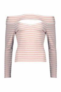 Womens Cut Out Detail Bardot Stripe Rib Top - pink - 10, Pink