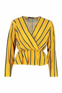 Womens Woven Stripe Plunge Blouse - yellow - 8, Yellow