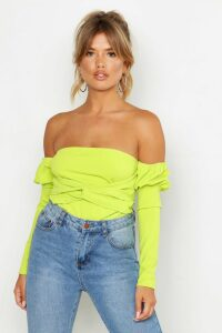 Womens Off The Shoulder Puff Sleeve Top - green - 6, Green