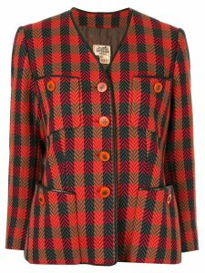 Hermès pre-owned checked single-breasted jacket - Red