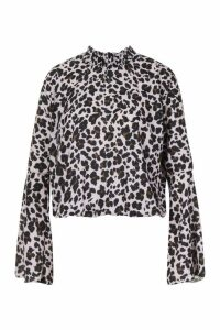 Womens Sheered High Neck Flare Sleeve Leopard Print Blouse - Pink - M, Pink