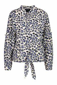 Womens Woven Leopard Tie Front Shirt - purple - S, Purple