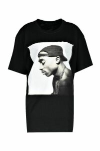 Womens Oversized Tupac T-Shirt - black - M, Black
