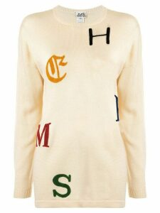 Hermès Pre-Owned logo letters embroidery jumper - NEUTRALS