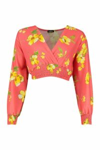 Womens Woven Floral Print Wrap Shirred Waist Top - orange - 8, Orange