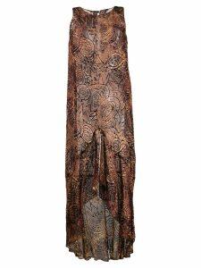 Romeo Gigli Pre-Owned 1997 sheer velvet texture dress - Brown
