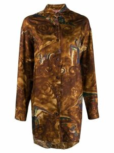Romeo Gigli Pre-Owned 1990's angels print oversized shirt - Brown