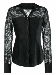 Romeo Gigli Pre-Owned 1990's textured lace shirt - Black