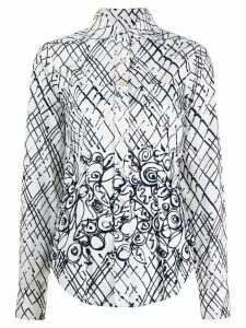 Romeo Gigli Pre-Owned 1997 deconstructed plaid print shirt - White