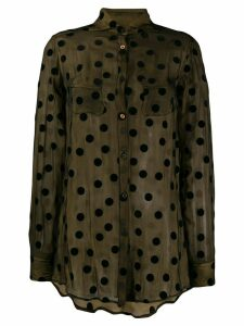 Romeo Gigli Pre-Owned 1990's sheer polka dots shirt - Brown