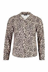 Womens Woven Leopard Shirt - beige - 8, Beige