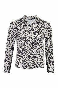 Womens Woven Leopard Shirt - white - 8, White