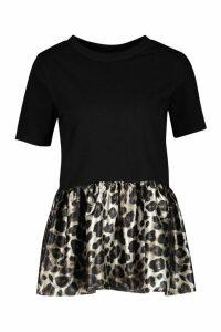 Womens Satin Peplum Leopard Print T-Shirt - Black - M, Black