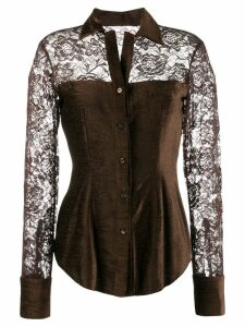 Romeo Gigli Pre-Owned 1990's lace panels slim shirt - Brown